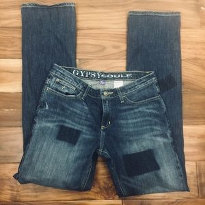 Gypsy Soule straight leg patchwork look jeans- 8